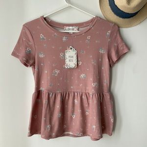 Pink Rose Floral Top NWT